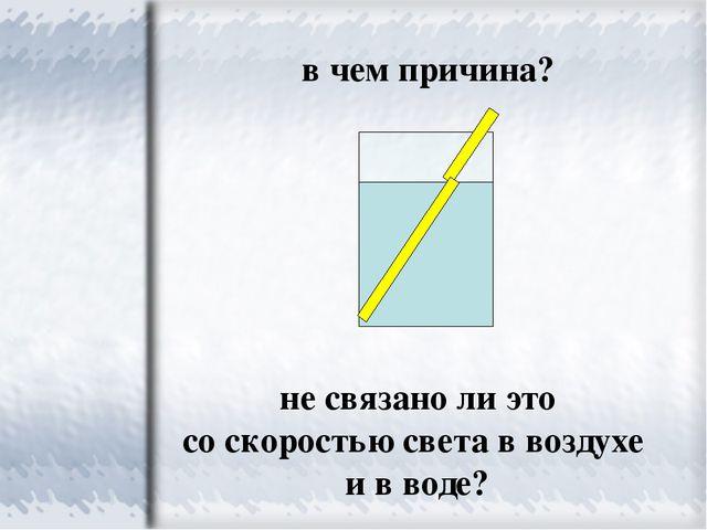 в чем причина? не связано ли это со скоростью света в воздухе и в воде?