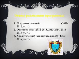 Этапы реализации программы: Подготовительный (2011-2012 уч. г.). Основной эта