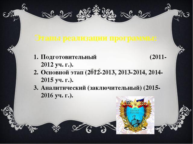 Этапы реализации программы: Подготовительный (2011-2012 уч. г.). Основной эта...