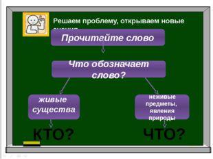 Решаем проблему, открываем новые знания. Прочитайте слово Что обозначает сло