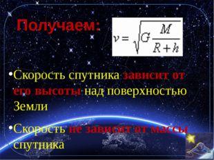 Получаем: Скорость спутника зависит от его высоты над поверхностью Земли Скор