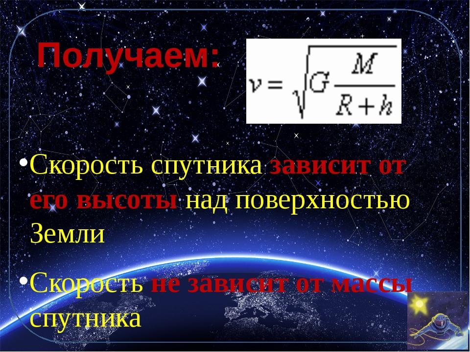 Получаем: Скорость спутника зависит от его высоты над поверхностью Земли Скор...