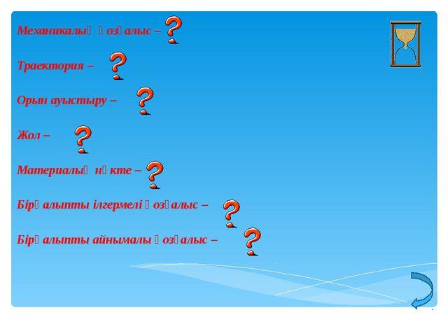 Механикалық қозғалыс – Траектория – Орын ауыстыру – Жол – Материалық нүкте –...