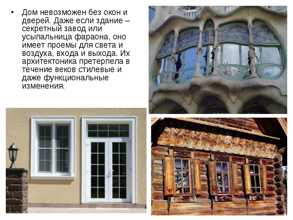 Дом невозможен без окон и дверей. Даже если здание – секретный завод или усып...