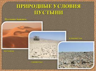ПРИРОДНЫЕ УСЛОВИЯ ПУСТЫНИ Пустыни бывают: песчаные глинистые каменистые