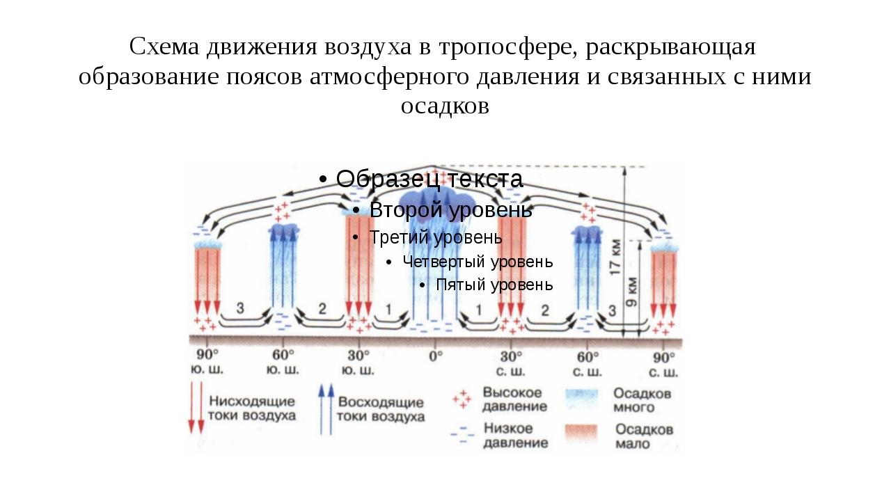 Схема движения воздуха в тропосфере, раскрывающая образование поясов атмосфер...