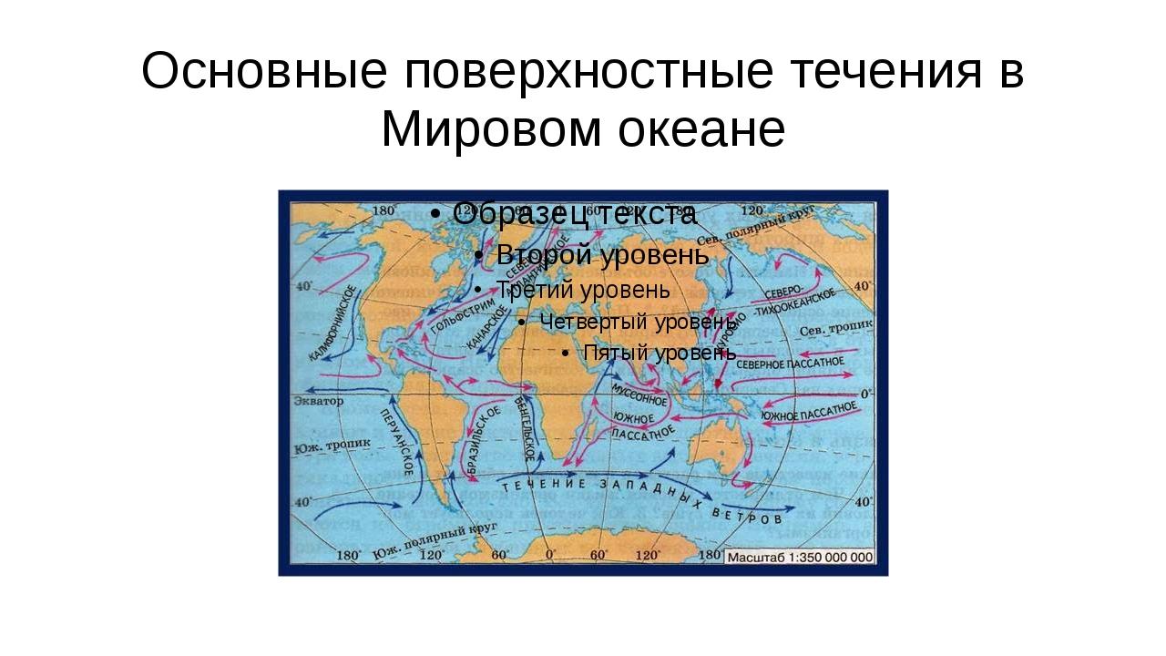 Основные поверхностные течения в Мировом океане