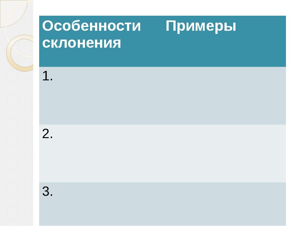 Особенности склонения Примеры 1. 2. 3.