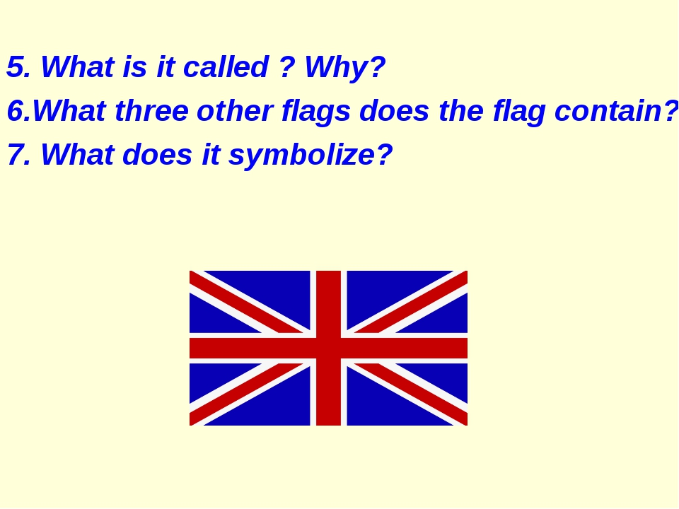 5. What is it called ? Why? 6.What three other flags does the flag contain?...