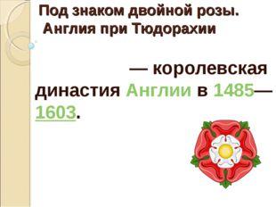 Под знаком двойной розы. Англия при Тюдорахии Тюдо́ры— королевская династия