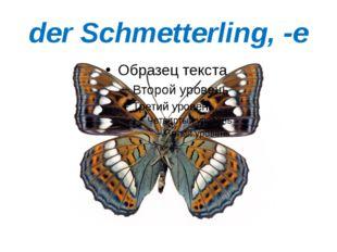 der Schmetterling, -e