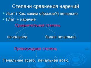 Степени сравнения наречий Льет ( Как, каким образом?) печально Глаг. + наречи