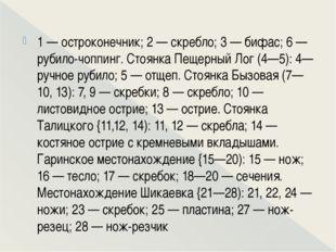 1 — остроконечник; 2 — скребло; 3 — бифас; 6 — рубило-чоппинг. Стоянка Пещер