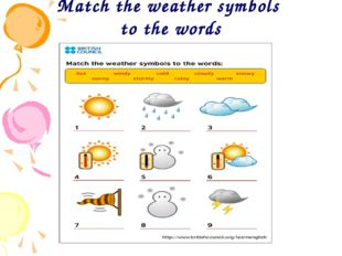 Match the weather symbols to the words