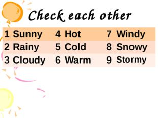 Check each other 1 Sunny 4 Hot 7 Windy 2 Rainy 5 Cold 8 Snowy 3 Cloudy 6 Warm
