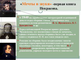 «Мечты и звуки» -первая книга Некрасова. В 1840 на заработанные литературной