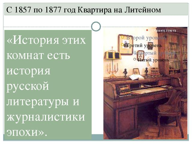 С 1857 по 1877 год Квартира на Литейном «История этих комнат есть история рус...