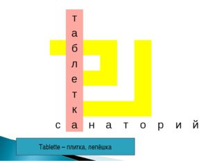 Tablette – плитка, лепёшка 			т							 			а							 			б							 			л