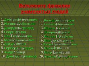 Вспомните фамилии знаменитых людей Дмитрий Иванович Иоганн Себастьян Джордж Б