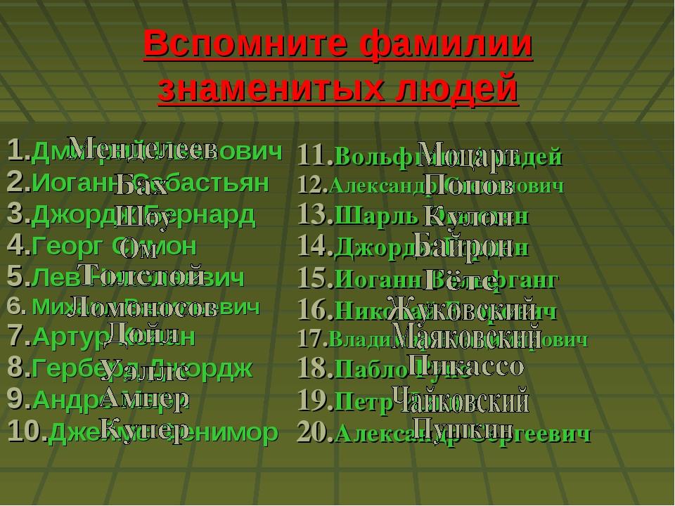 Вспомните фамилии знаменитых людей Дмитрий Иванович Иоганн Себастьян Джордж Б...
