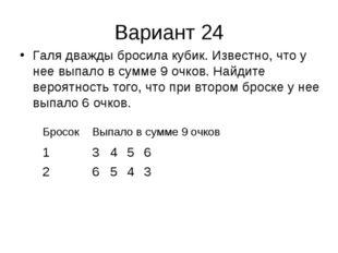 Вариант 24 Галя дважды бросила кубик. Известно, что у нее выпало в сумме 9 оч