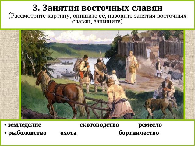 3. Занятия восточных славян (Рассмотрите картину, опишите её, назовите заняти...