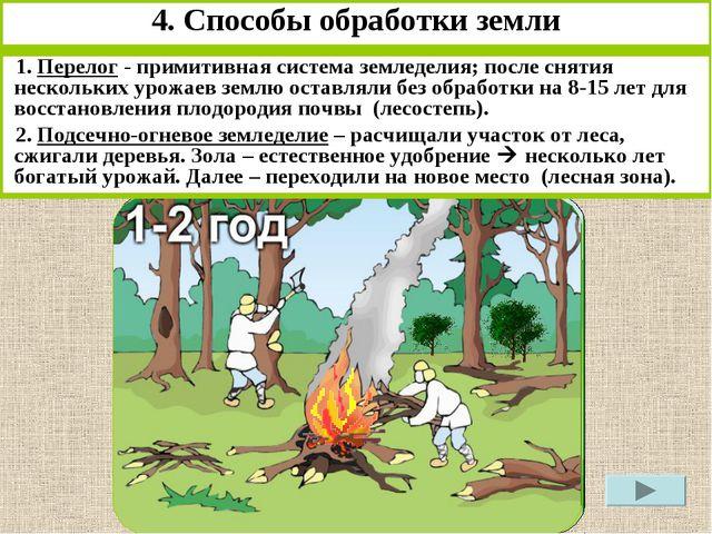 4. Способы обработки земли 1. Перелог - примитивная система земледелия; после...