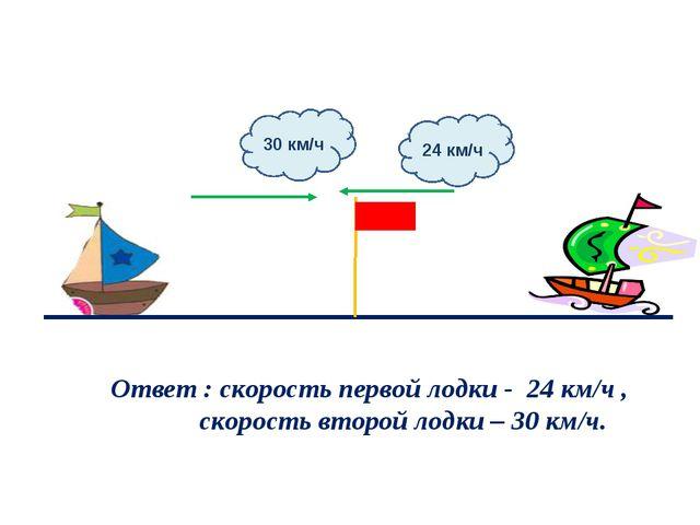 24 км/ч 30 км/ч Ответ : скорость первой лодки - 24 км/ч , скорость второй лод...