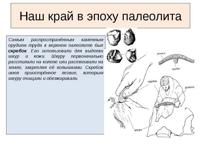 Самым распространённым каменным орудием труда в верхнем палеолите был скребок...