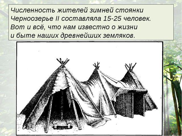 Численность жителей зимней стоянки Черноозерье II составляла 15-25 человек....