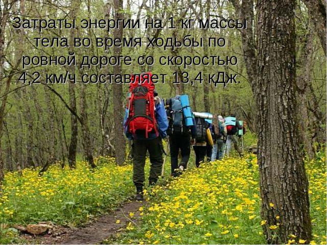 Затраты энергии на 1 кг массы тела во время ходьбы по ровной дороге со скорос...