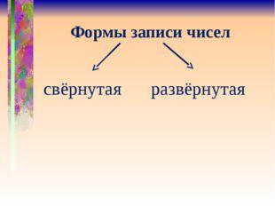 Формы записи чисел свёрнутая развёрнутая