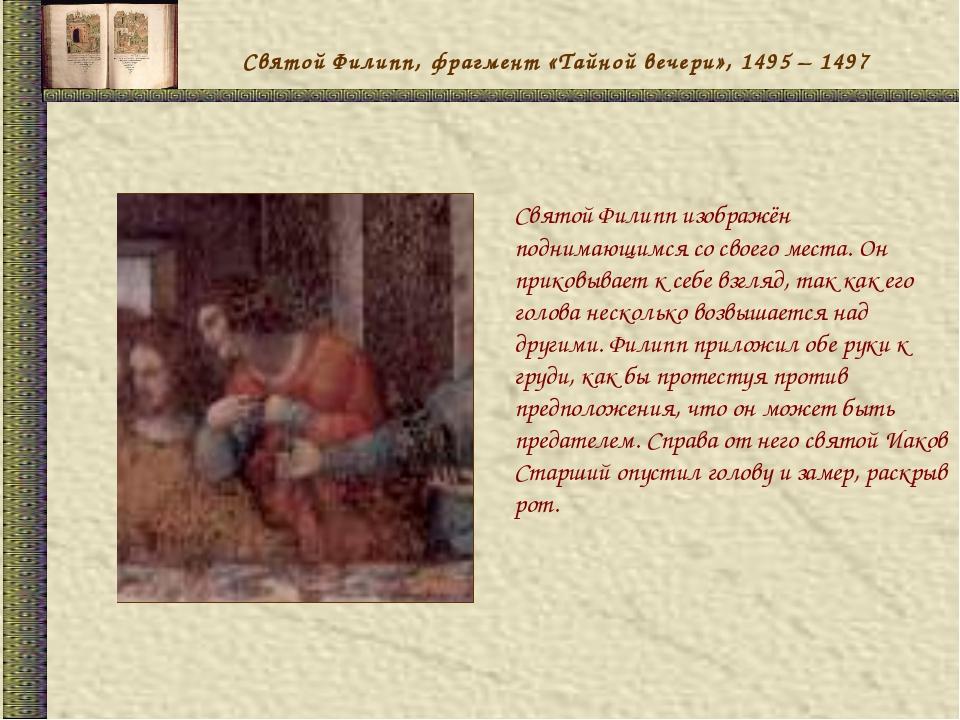 Святой Филипп, фрагмент «Тайной вечери», 1495 – 1497 Святой Филипп изображён...