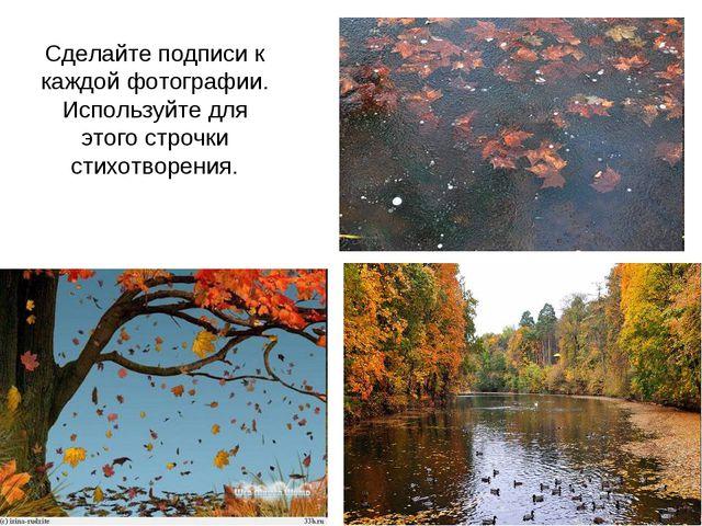 Сделайте подписи к каждой фотографии. Используйте для этого строчки стихотвор...