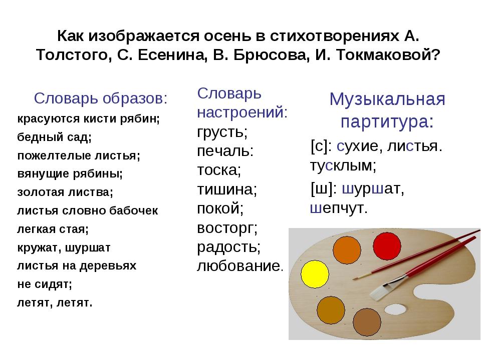 Как изображается осень в стихотворениях А. Толстого, С. Есенина, В. Брюсова,...