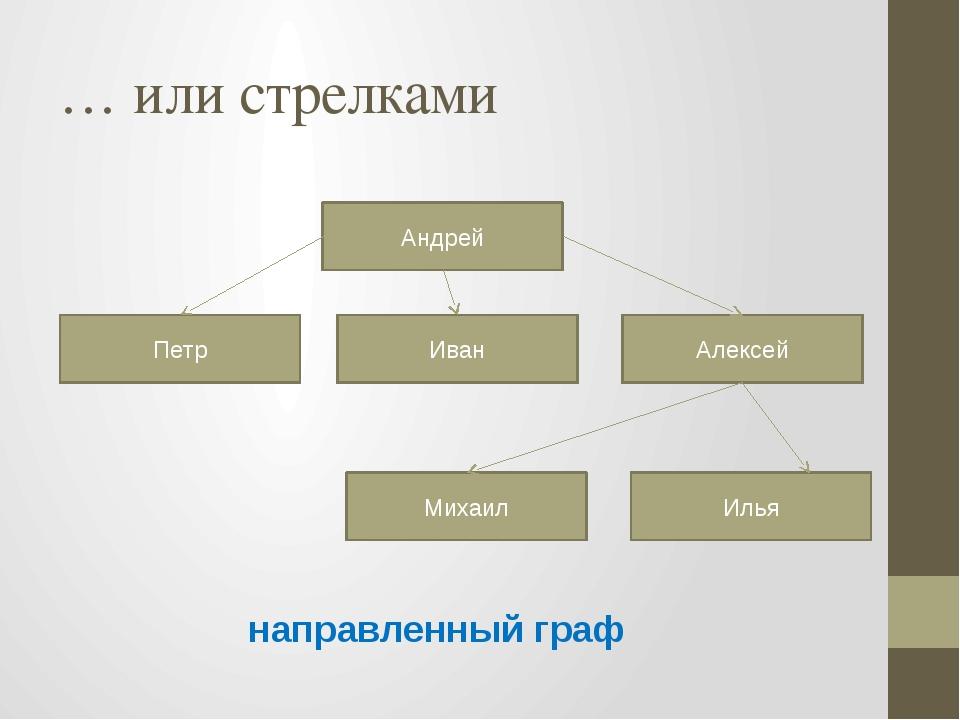 … или стрелками направленный граф Андрей Петр Иван Алексей Михаил Илья