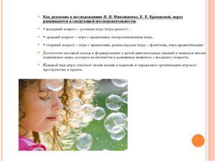Как доказано в исследованиях Н. Я. Михайленко, Е. Е. Кравцовой, игры развиваю