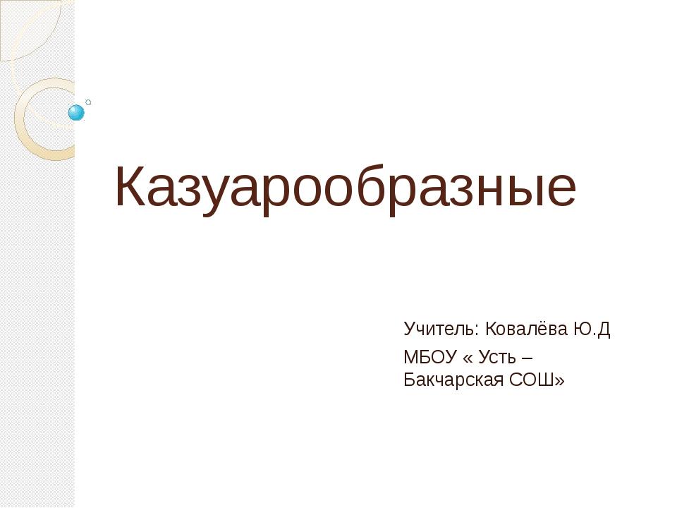 Казуарообразные Учитель: Ковалёва Ю.Д МБОУ « Усть – Бакчарская СОШ»
