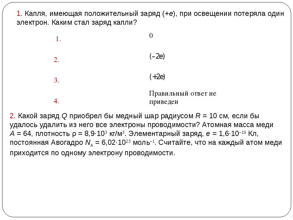 1. Капля, имеющая положительный заряд (+e), при освещении потеряла один элект...