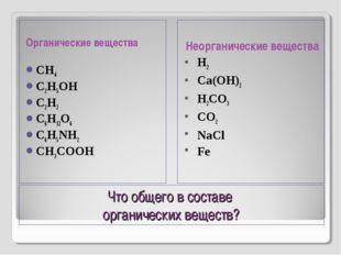 Что общего в составе органических веществ? Органические вещества CH4 C2H5OH C