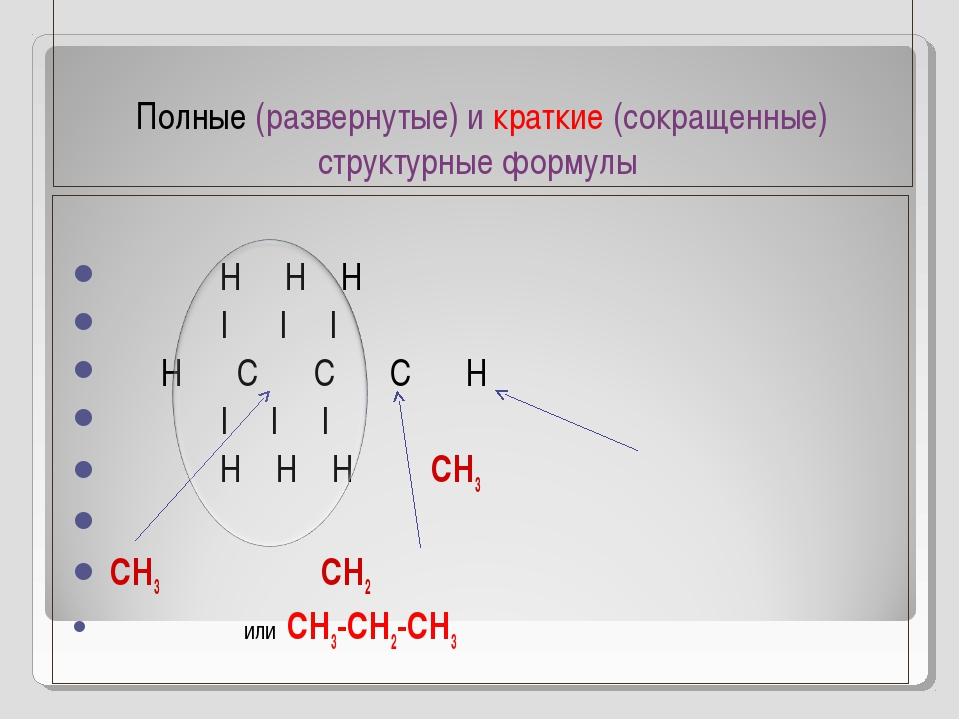 Полные (развернутые) и краткие (сокращенные) структурные формулы Н Н Н | | |...