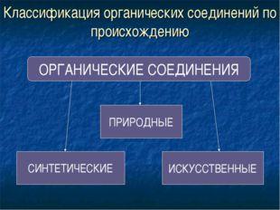 Классификация органических соединений по происхождению ОРГАНИЧЕСКИЕ СОЕДИНЕНИ