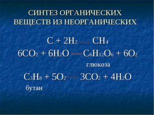 СИНТЕЗ ОРГАНИЧЕСКИХ ВЕЩЕСТВ ИЗ НЕОРГАНИЧЕСКИХ С + 2Н2 СН4 6СО2 + 6Н2О С6Н12О6