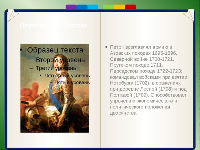 Перемены в России Петр I возглавлял армию в Азовских походах 1695-1696, Севе...