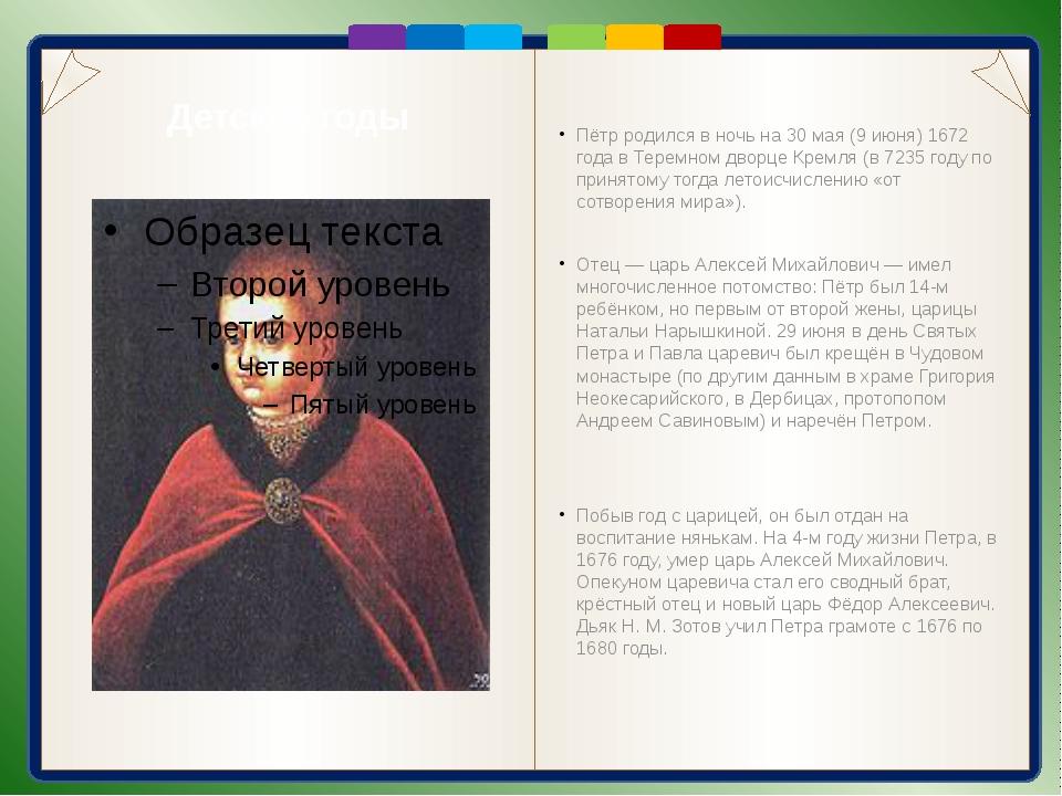 Детские годы Пётр родился в ночь на 30 мая (9 июня) 1672 года в Теремном дво...