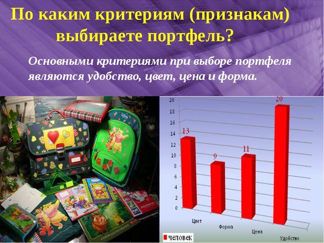 По каким критериям (признакам) выбираете портфель? Основными критериями при...