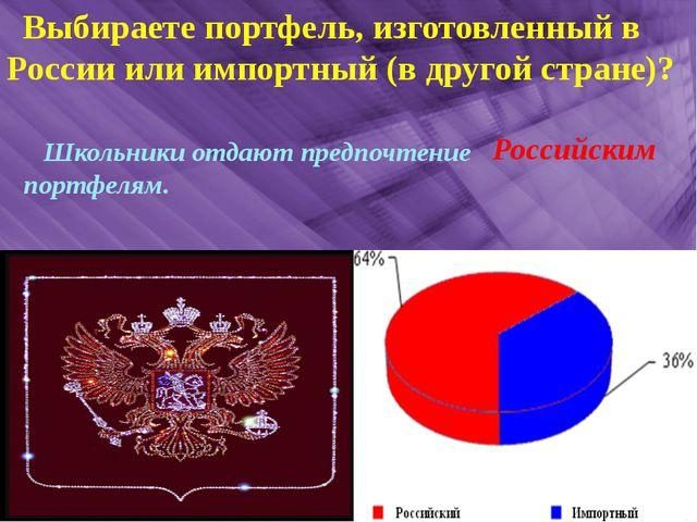 Выбираете портфель, изготовленный в России или импортный (в другой стране)?...