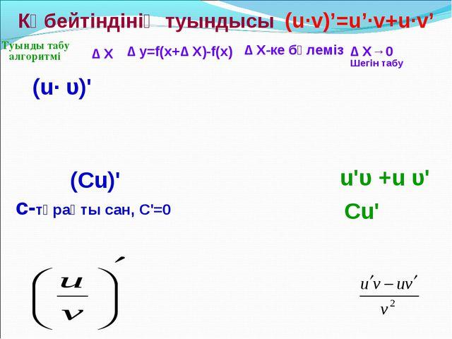 Туынды табу алгоритмі (u· υ)' Көбейтіндінің туындысы (u·v)'=u'·v+u·v' ∆ y=f(...