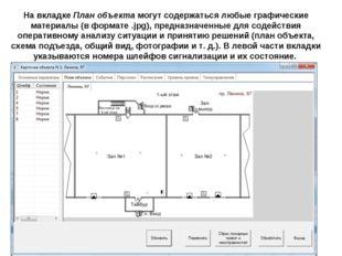 На вкладке План объекта могут содержаться любые графические материалы (в форм