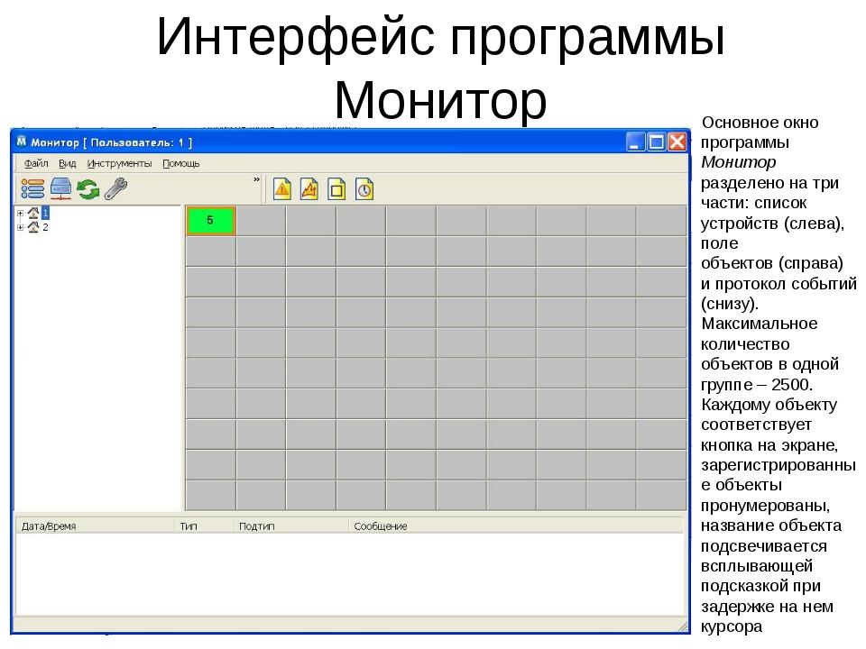Интерфейс программы Монитор Основное окно программы Монитор разделено на три...